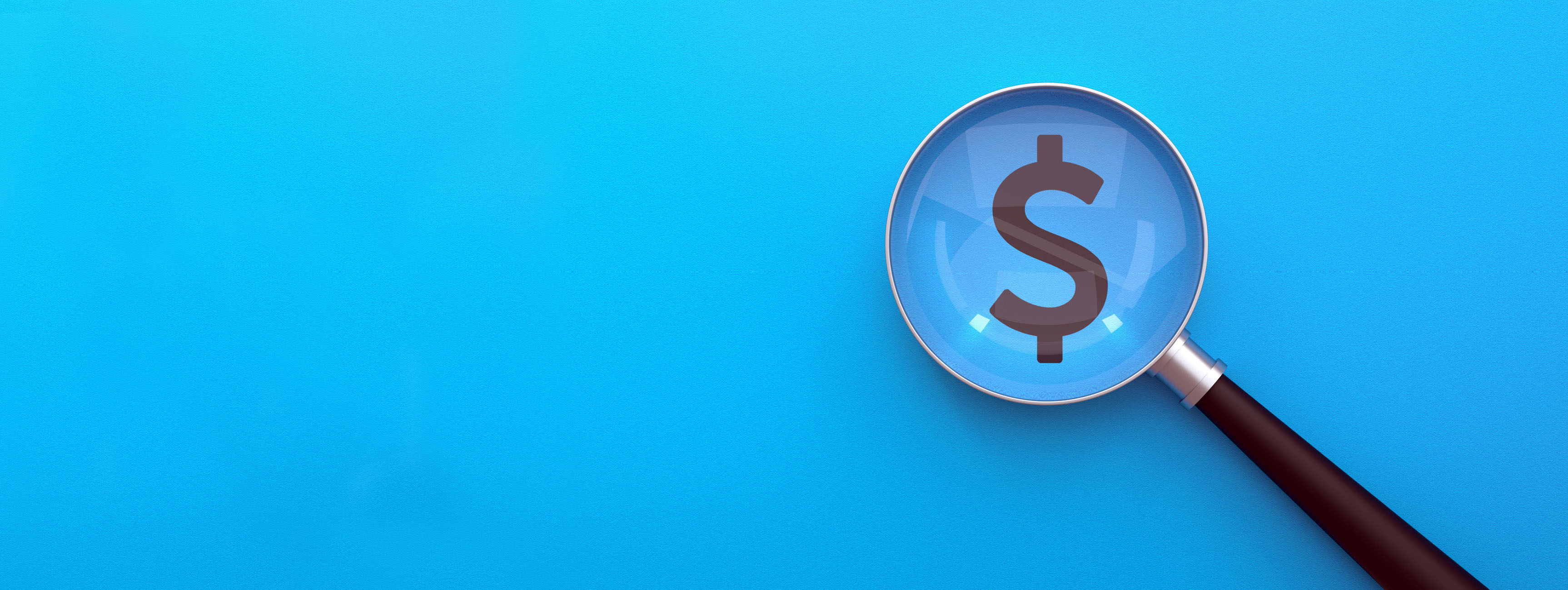 magnifying glass looking at dollar sign on blue background