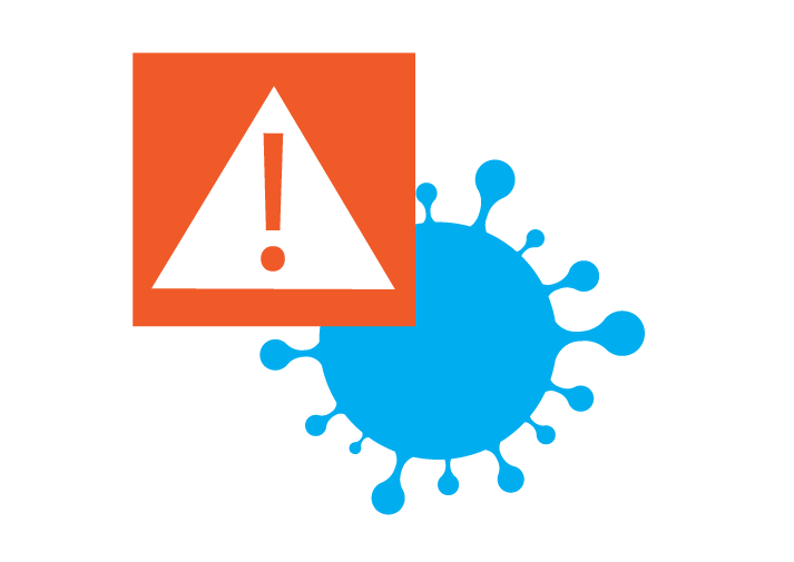 COVID germ with exclamation symbol over it to represent an alert