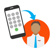 vector of phone with an arrow to customer care person
