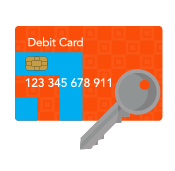 vector image of debit card with silver key