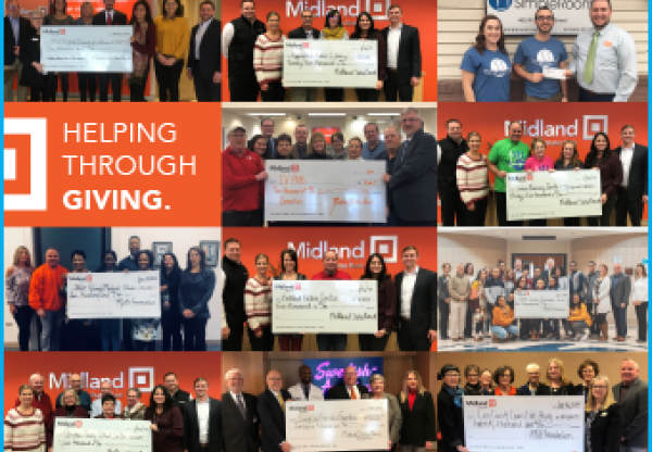 Collage of photos with people holding checks from the Midland Foundation