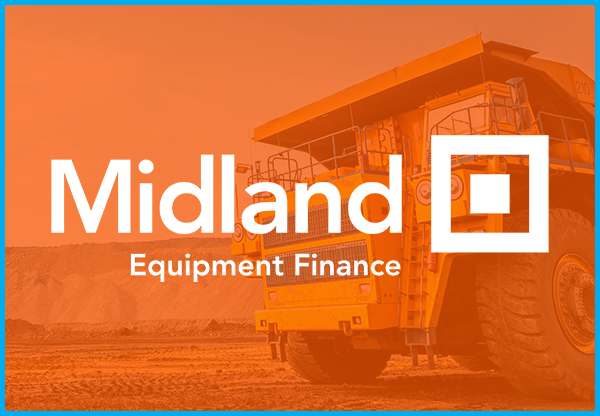 Midland Equipment Finance logo over construction image with orange overlay