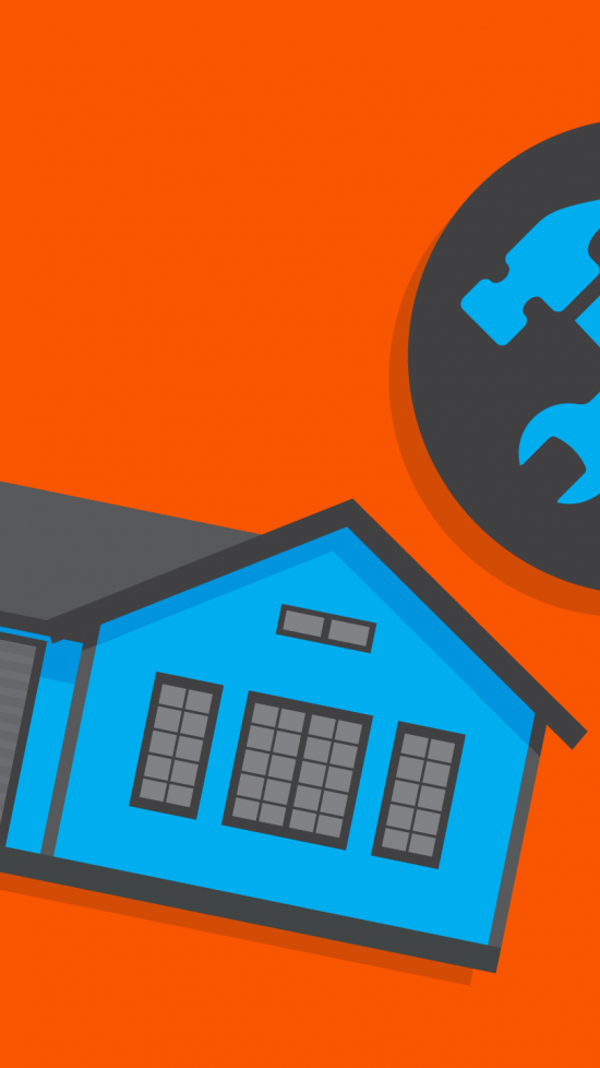 orange background with grey and blue house and tools