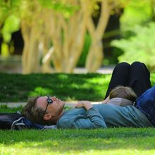 Couple laying in the shade on grass