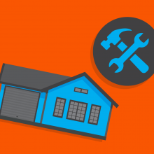 orange background with blue and grey house and tools